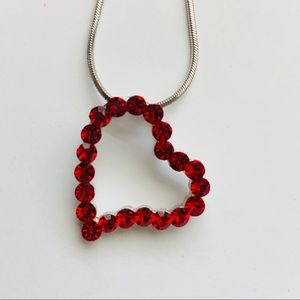 Jewelry - Heart necklace, ruby red stones, silver tone